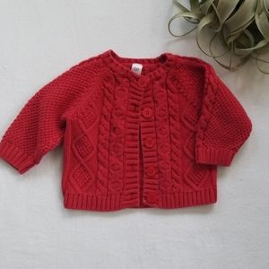 Baby Gap Red Girls Holiday Cable Knit Sweater